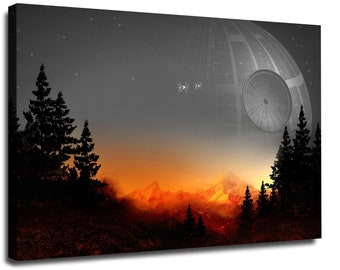 Star Wars Canvas, Death Star Movie Wall Art Canvas, Home Decor  Hand Made Canvas Print