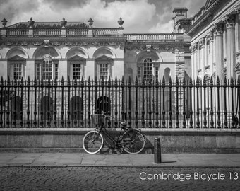 Bicycle Wall Art and Fine Art Prints- Cambridge Cyclist Bicycle Prints- Black and White- Unframed or Ready to Hang-Canvas-Art Panel-Framed