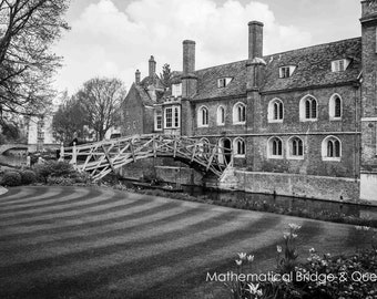 Cambridge University Black and White Wall Art Prints-Mathematical Bridge-Queens College-Unframed or Ready to Hang-Canvas-Art Panel-Framed