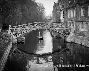 Cambridge Black and White Wall Art Prints-Cambridge Punts-Mathematical Bridge-Punting-Unframed or Ready to Hang-Canvas-Art Panel-Framed