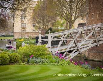 Cambridge University Wall Art & Fine Art Prints-Queens College-Mathematical Bridge-Unframed or Ready to Hang-Canvas-Art Panel-Framed