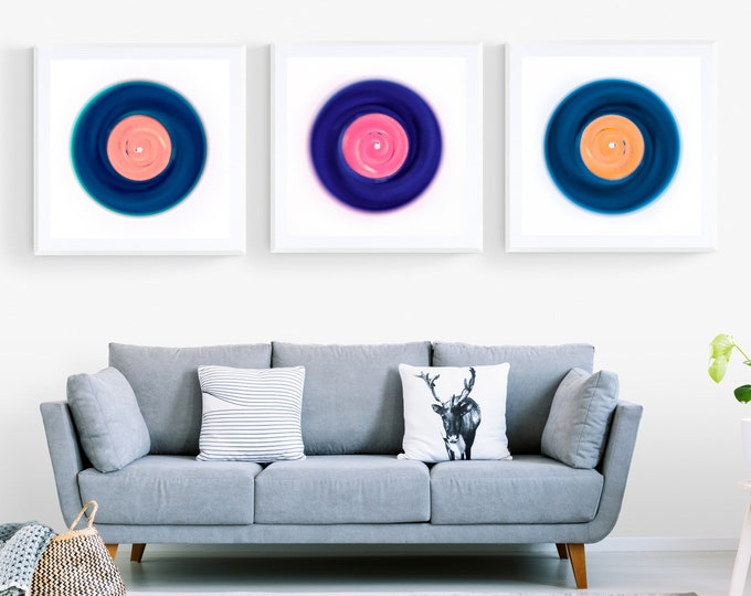 """Featured listing image: Triptych Pop Art Vinyl - Limited Edition of 50 Three 18"""" x 18"""" Unframed Prints"""