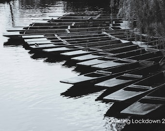 Cambridge Black and White Wall Art & Limited Edition Prints-Cambridge Punts-Punting-Unframed or Ready to Hang-Canvas-Art Panel-Framed