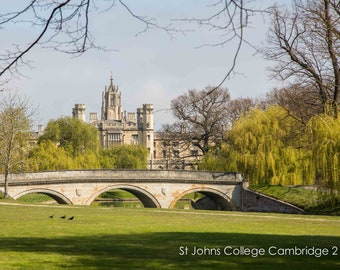 Cambridge University Wall Art & Limited Edition Fine Art Prints-St Johns College-Unframed or Ready to Hang-Canvas-Art Panel-Framed