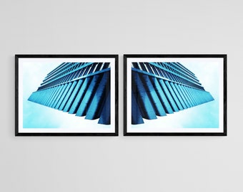 London Barbican Architecture Blue Wall Art- Abstract Contemporary Fine Art Photography- Limited Edition Prints and Ready to Hang Wall Art