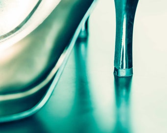 Green High Heeled Shoes Wall Art and Fine Art Prints-Photography-Dressing Room Wall Art- Unframed or Ready to Hang-Canvas-Art Panel Shoe Art