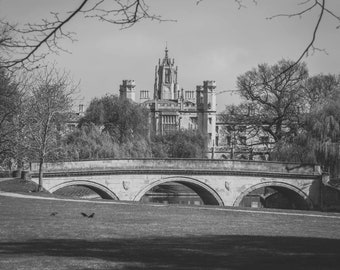 Cambridge University Black and white Wall Art & Limited Edition Prints-St Johns College-Unframed or Ready to Hang-Canvas-Art Panel-Framed