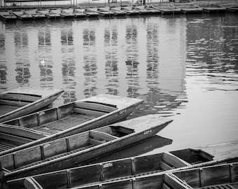 Cambridge Black and White Wall Art and Fine Art Print-Cambridge Punts on River Cam-Punting-Unframed or Ready to Hang-Canvas-Art Panel-Framed