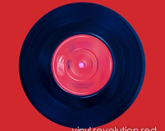 Pop Art Vinyl Record Red Limited Edition of 50 Unframed Print in Custom Sizes & Ready to Hang Wall Art - art panels, canvas, box frame