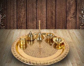 """Handmade Brass Puja Thali with Flower Embossed Design, Brass Pooja Plate, Religious Spiritual Item, Home Temple, 10.1"""" Inch"""
