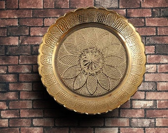 Handmade Brass Puja Thali with Flower Emossed Design,Brass Pooja Plate for Home and Office Decoration & Gifting (Size-7 Inch)