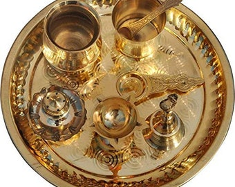 Traditional Handcrafted Brass Pooja Thali/Aarti Bartan Plate