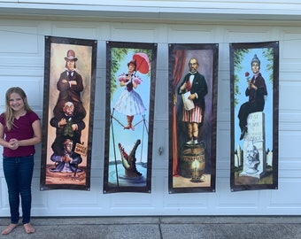 Large set of 4 Haunted Mansion Stretching Portraits Outdoor Vinyl Halloween Decoration Free shipping