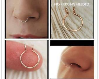 Minimalist septum ring, fake septum, copper nose ring, no piercing septum, fake nose ring, faux nose piercing, septum horseshoe, simple hoop