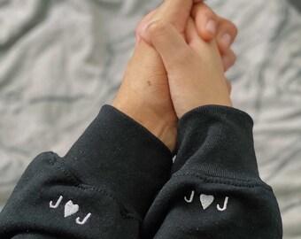 CUSTOM INITIAL EMBROIDERED Sleeve Crewneck Pullover Couple Matching Sweatshirt (Single)