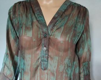 Batik printed chiffon transparent blouse