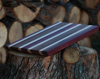 "Large Edge Grain Cutting Board - Purpleheart, Walnut, Soft Maple, Cherry, Sapele 18.75""x11.75"""