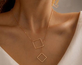 Hollow Square Pendant Necklace for Women - Simple Geometric Style