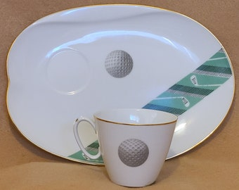 Impossible to Find! Noritake Golf MCM Luncheon Snack Set of 8 in Unnamed Pattern in Excellant Condition * Never Sold in the US *