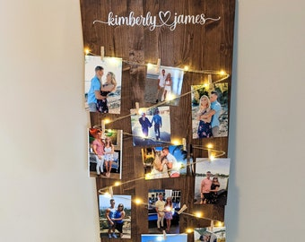 Personalized Photo Display Board for Wedding   Custom Engagement Party Sign   Wood Picture Album Decoration   Bridal Shower Gift with Lights