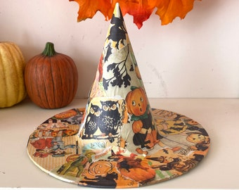 Vintage Halloween Witch Hat Table Decoration or Tree Topper
