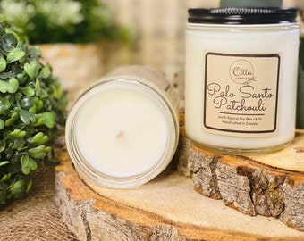 Palo Santo Patchouli |Handmade 8 oz Pure Soy Candle | 100% Natural Soy Wax | Home Decor | Vegan | Ecofriendly | Cruelty Free | Birthday Gift