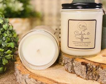Cedar & Saffron | Handmade 8 oz Pure Soy Candle | 100% Natural Soy Wax | Home Decor | Vegan | Ecofriendly | Cruelty Free | Birthday Gift
