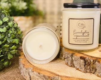 Eucalyptus Spearmint |Handmade 8 oz Pure Soy Candle | 100% Natural Soy Wax | Home Decor | Vegan | Ecofriendly | Cruelty Free | Birthday Gift