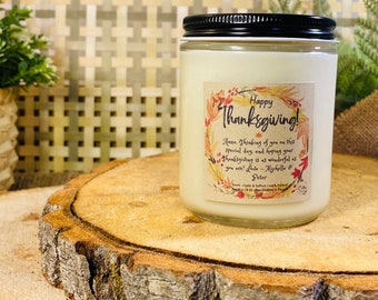 Personalized Thanksgiving Candle  | Handmade 8 oz Pure Soy Candle | Fall | Autumn | Thanksgiving gift |Home Decor | Vegan | Ecofriendly |