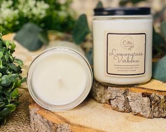 Lemongrass Verbena | Handmade 8 oz Pure Soy Candle|100% Natural Soy Wax | Home Decor | Vegan | Ecofriendly | Cruelty Free | Birthday Gift