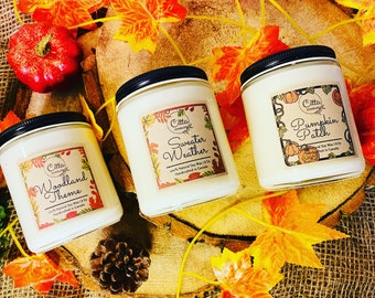Pack of 3 | Fall collection |Halloween| Autumn|Thanksgiving| Handmade 8oz Pure Soy Candle| Home Decor |  Vegan |Cruelty Free | Birthday Gift