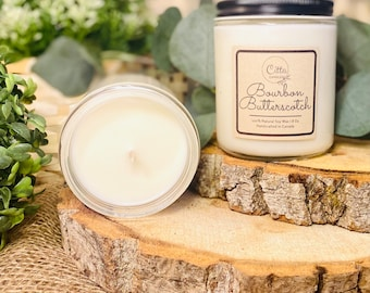 Bourbon Butterscotch | Handmade 8 oz Pure Soy Candle|100% Natural Soy Wax | Home Decor | Vegan | Ecofriendly | Cruelty Free | Birthday Gift