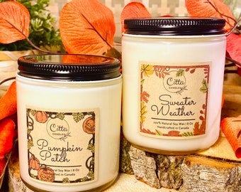 Pack of 2 | Fall collection |Halloween| Autumn|Thanksgiving| Handmade 8oz Pure Soy Candle| Home Decor |  Vegan |Cruelty Free | Birthday Gift