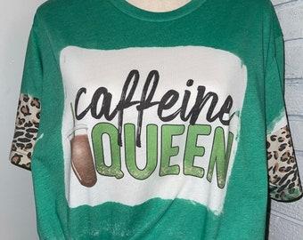 Caffeine Queen Tee, Leopard Print, Iced Coffee, Latte, Mama