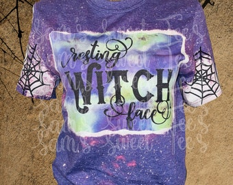 Resting Witch Face Halloween Funny Bleached Sub Tee Gildan Softstyle, purple shirt, Halloween shirt, witches, spiderweb