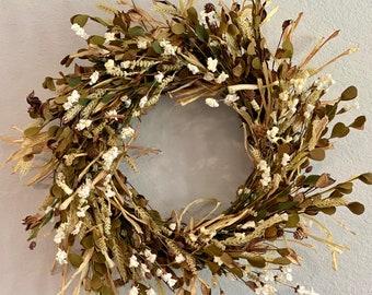 Fall Dried wreath, faux dried wreath, harvest wreat, rustic wreath, dried grass wreath,leaf wreath, harvest wreath, autumn wreath, door