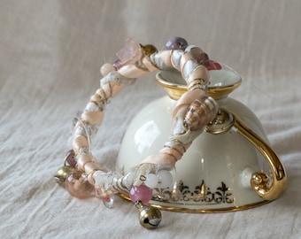 Handmade boho bangle/ Hippie gypsy bracelet/ Pixie bracelet/ Fabric wrap bangle/ Bride bracelet