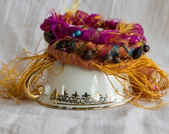 3 piece handmade colourfull boho bangles/ Hippie gypsy bracelet/ Pixie bracelet/ Fabric wrap bangle with fringes
