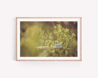 Dental Photo Art of Toothbrush in Blueberry Bush - Digital Instant Download - Poster Wall Art - Dentist Office Decoration - Oral Care Print