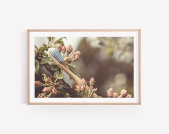Dental Photo Art of Toothbrush in Apple Tree - Digital Instant Download - Poster Wall Art - Dentist Office Decoration - Oral Care Print