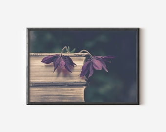 Photo Art of Flowers on Old Book - Digital Instant Download - Poster Wall Art - Library Poster - Vintage Literature