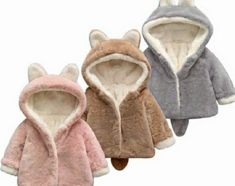 Baby And Kids Hooded Ear And Tail Fluffy Coat | Pink Grey Brown And Red Fluffy Coats Baby And Kids | Winter Fluffy Coats Hooded Ears