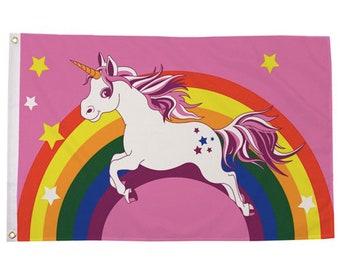 Unicorn Rainbow Flag / 5ft x 3ft / With Sewn Hems & Grommets