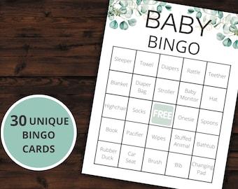 Baby Shower Bingo | Baby Shower Game | Printable Activities - Greenery