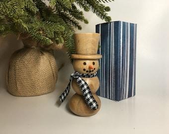 Hardwood Snowman Handcrafted