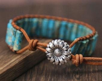 Imperial Jasper Wrap Bracelet-Turquoise Tube Bracelet-Natural Turquoise Jasper Stone Healing Bracelet-Spiritual Protection Healing Bracelet