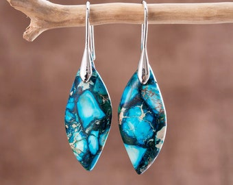 Natural Blue Sea Sediment Jasper Earrings, Dangle Healing Earrings, Healing Teardrop Earrings, Mental Health Gemstone Earrings