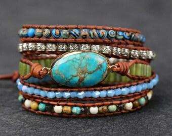 Natural Turquoise Stone Bracelet, Anxiety Relief Crystal Bracelet, Mental Health Bracelet, Healing Bracelet, Healing Crystal Bracelet