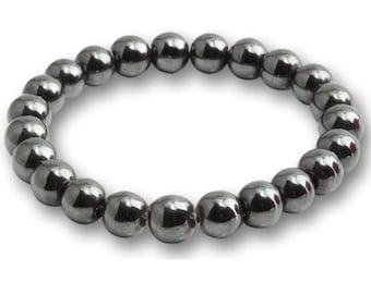 Natural Hematite Bracelet 8mm, Hematite Healing Properties, Hematite Stone, Hematite Bracelet Unisex, Natural Gemstone Bracelet Hematite