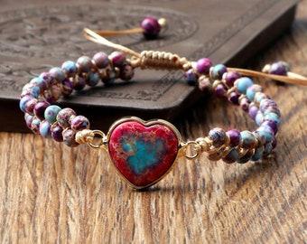 Sea Sediment Jasper Heart Bracelet,Stone Healing Heart Bracelet,Spiritual Healing Bracelet,Spiritual Protection,Meditation Bracelet